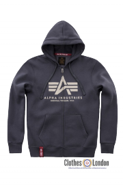 Rozpinana bluza z kapturem ALPHA INDUSTRIES BASIC ZIP HOODY Ciemnoszara