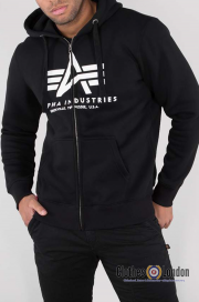 Rozpinana bluza z kapturem ALPHA INDUSTRIES BASIC ZIP HOODY Czarna