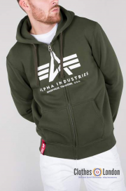 Rozpinana bluza z kapturem ALPHA INDUSTRIES BASIC ZIP HOODY Ciemnozielona