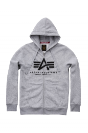 Rozpinana bluza z kapturem ALPHA INDUSTRIES BASIC ZIP HOODY Szara