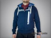 Rozpinana bluza z kapturem Lambretta Twin Stripe Granatowa
