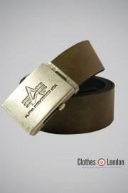 Pasek skórzany z metalową klamrą Alpha Industries Oliwkowy