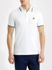 Koszulka polo LYLE & SCOTT TIPPED biała, paski