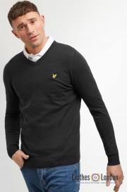 Sweter z wełny Merino V-neck (serek) LYLE & SCOTT Czarny