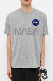 T-shirt NASA ALPHA INDUSTRIES Reflective Szara
