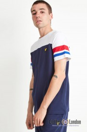 T-Shirt LYLE & SCOTT Contrast Band granatowa