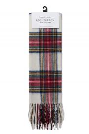 Wełniany szalki w szkocką kratkę MERC LONDON & Lochcarron WOOL Biały