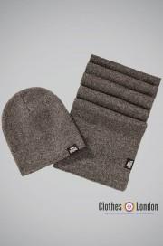 Zestaw czapka zimowa i szalik Lonsdale London Leafield Brązowy