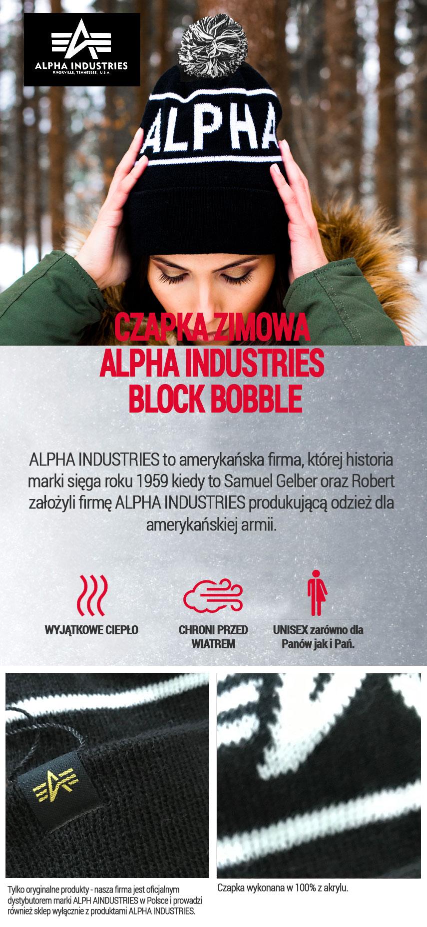 Czapka zimowa ALPHA INDUSTRIES BLOCK BOBBLE Czarna