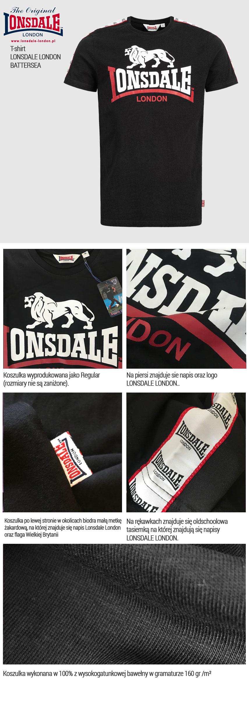 T-shirt  LONSDALE LONDON BATTERSEA czarny