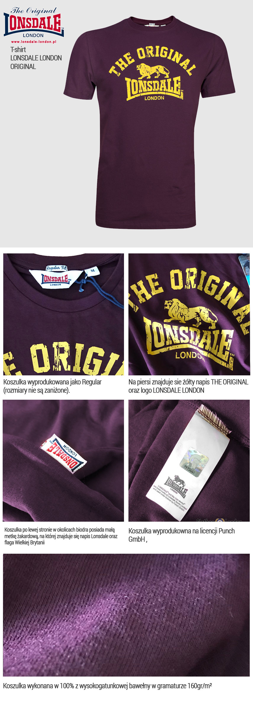 T-shirt LONSDALE LONDON ORIGINAL Bordowy