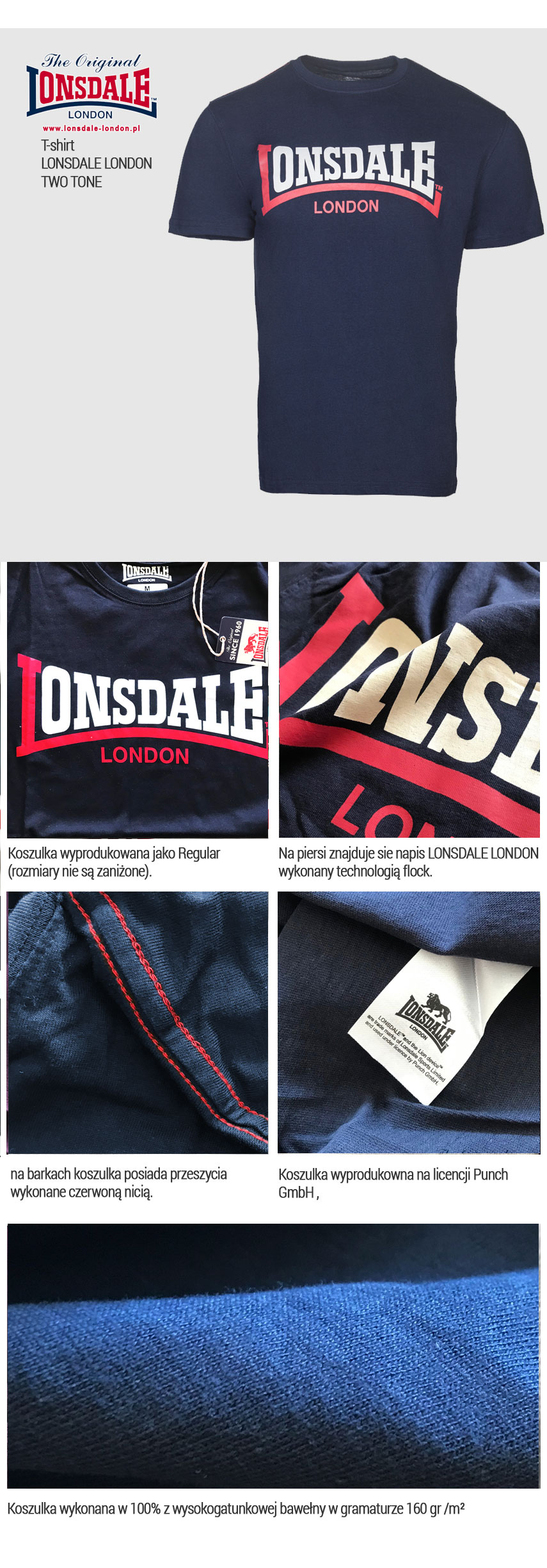 T-shirt LONSDALE LONDON TWO TONE Granatowy
