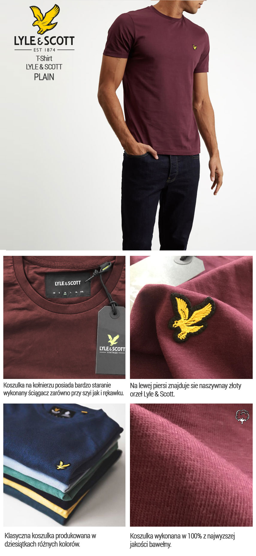 T-shirt Lyle & Scott Crew Neck Bordowy