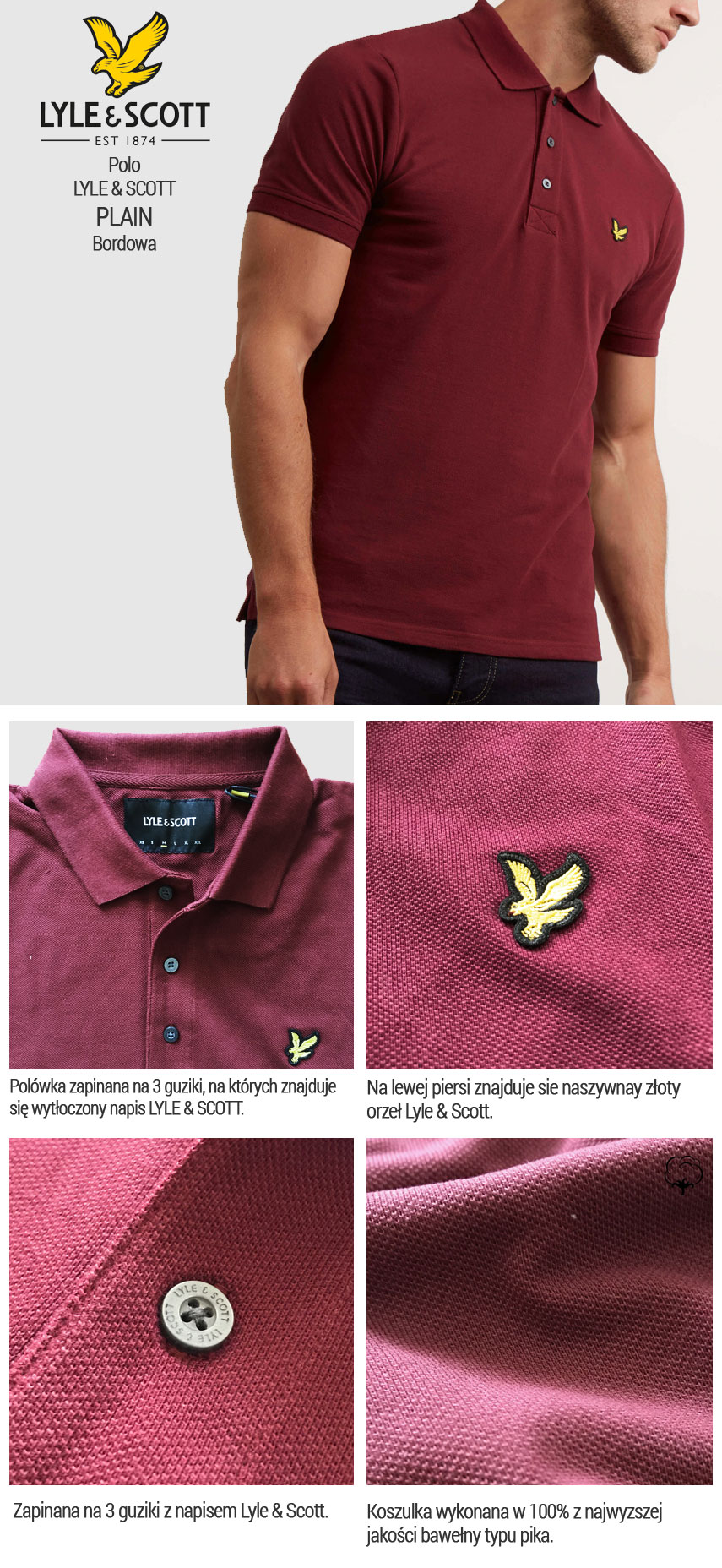 Koszulka Polo Lyle & Scott Pique Bordowa