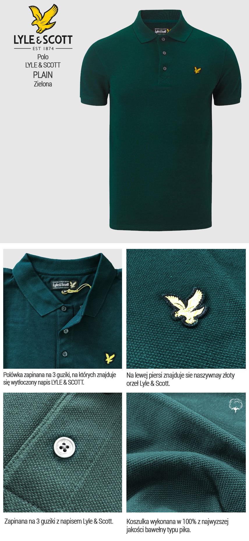 Koszulka Polo Lyle & Scott Pique Zielona