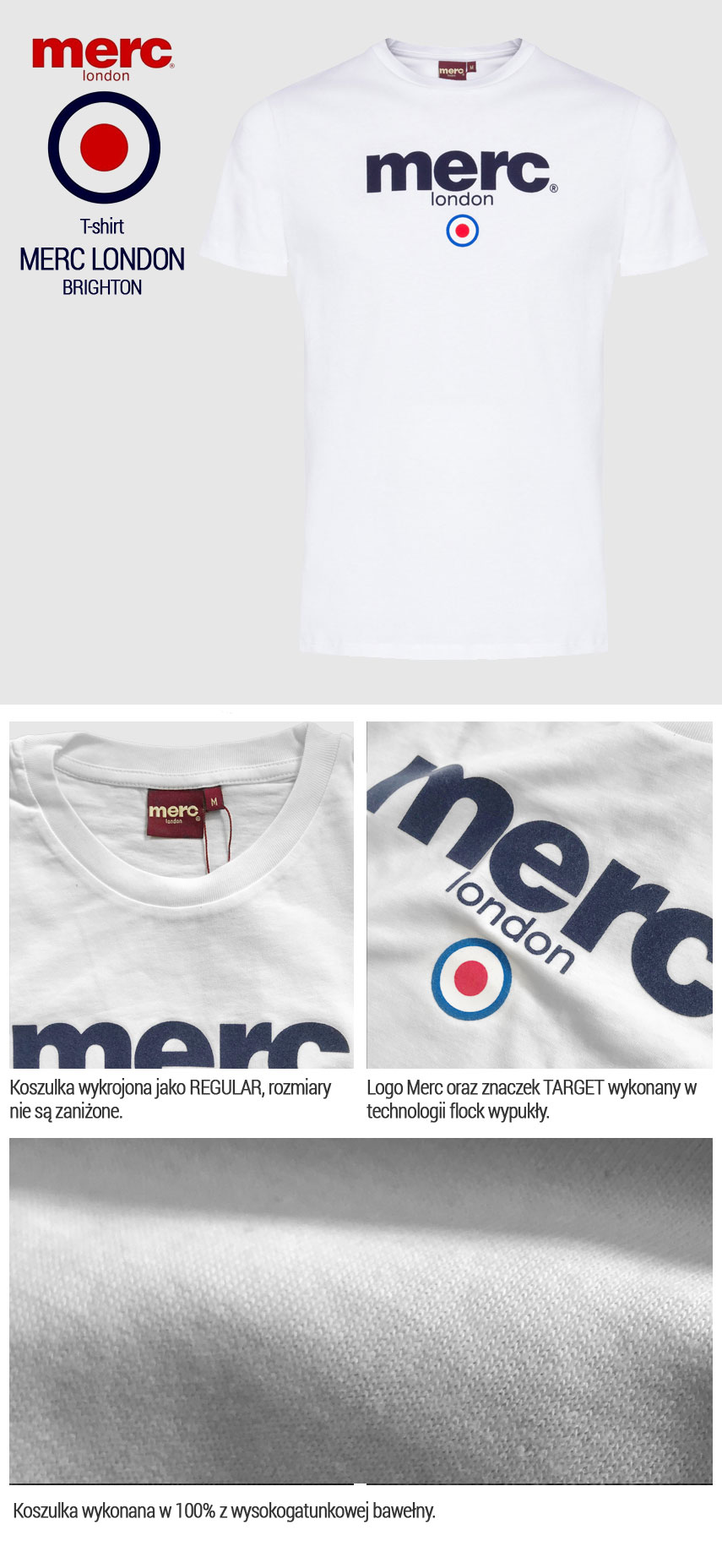 T-shirt Merc London Brighton Biała