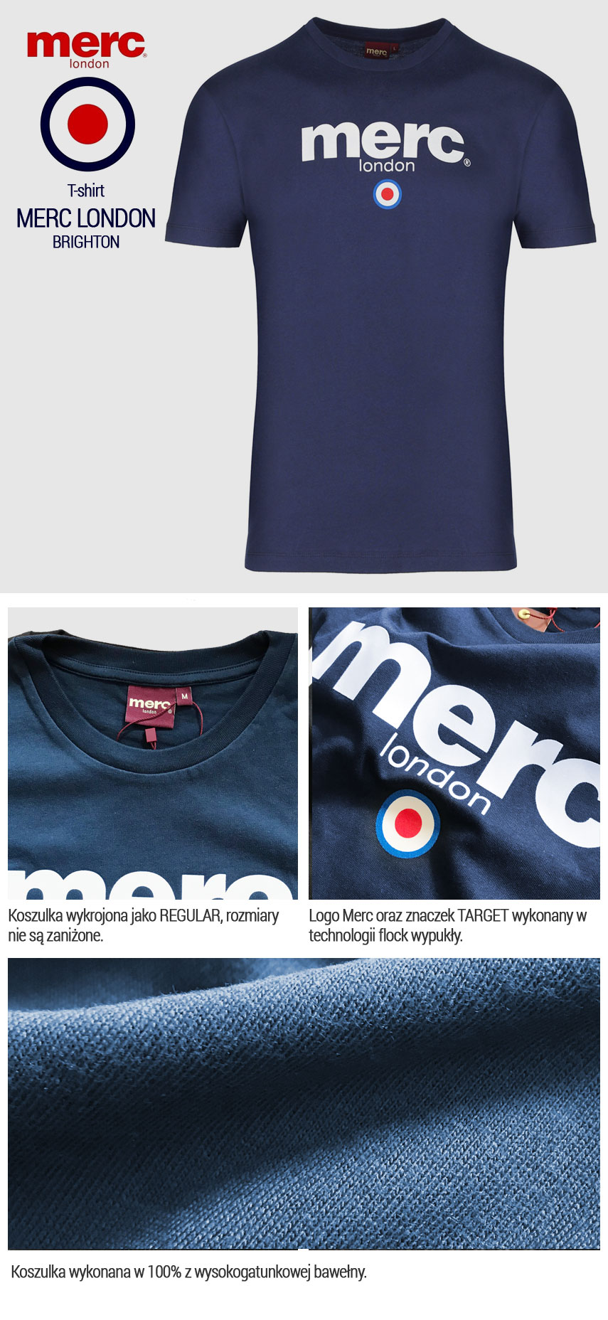 T-shirt Merc London Brighton Granatowa