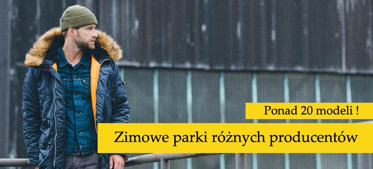 Zimowe parki różnych producentów: Alpha, Merc, Lonsdale London